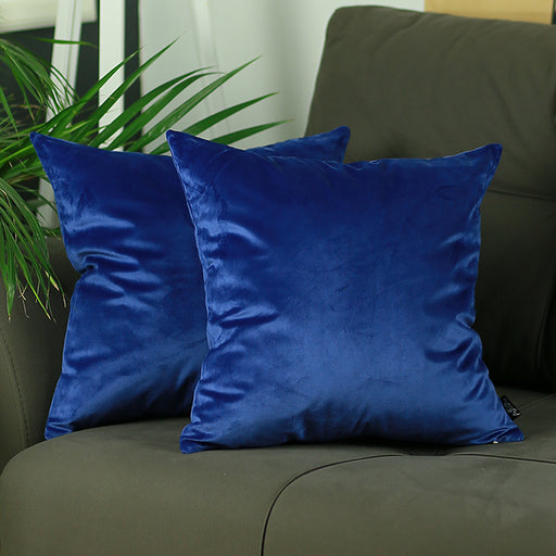 Velvet Navy Blue Decorative Throw Pillow Cover Home Decor 18''x 18'' (2 Pcs in set)