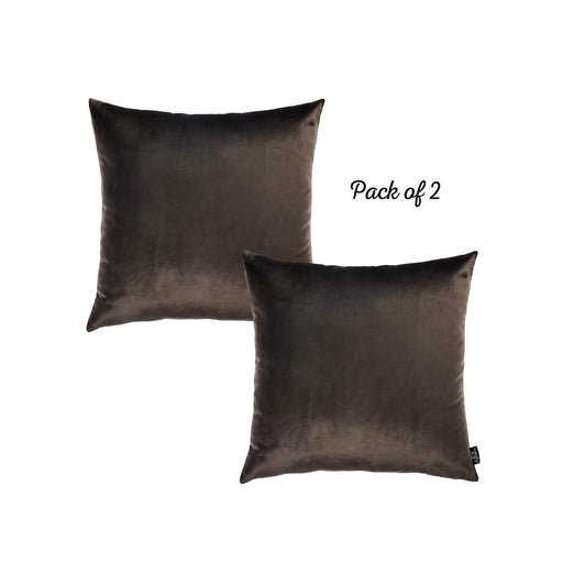 Velvet Carob Brown Decorative Throw Pillow Cover Home Decor 18''x 18'' (2 Pcs in set)