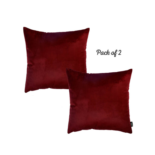 Velvet Carmine Red Decorative Throw Pillow Cover Home Decor 18''x 18'' (2 Pcs in set)