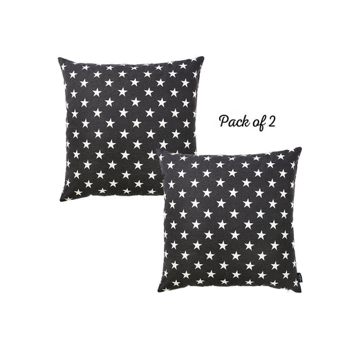 "Easy Care Black White Stars Decorative Throw Pillow Cover Set Of 2 Pcs 20""x20"""