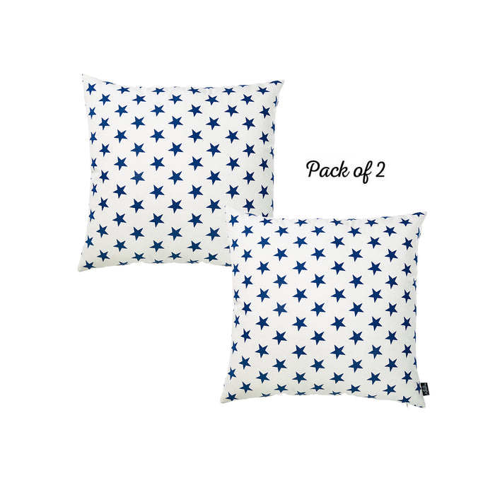 "Easy Care White Blue Stars Decorative Throw Pillow Cover Set Of 2 Pcs 20""x20"""