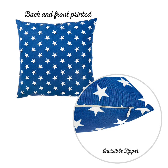 "Easy Care Blue White Stars Decorative Throw Pillow Cover Set Of 2 Pcs 20""x20"""