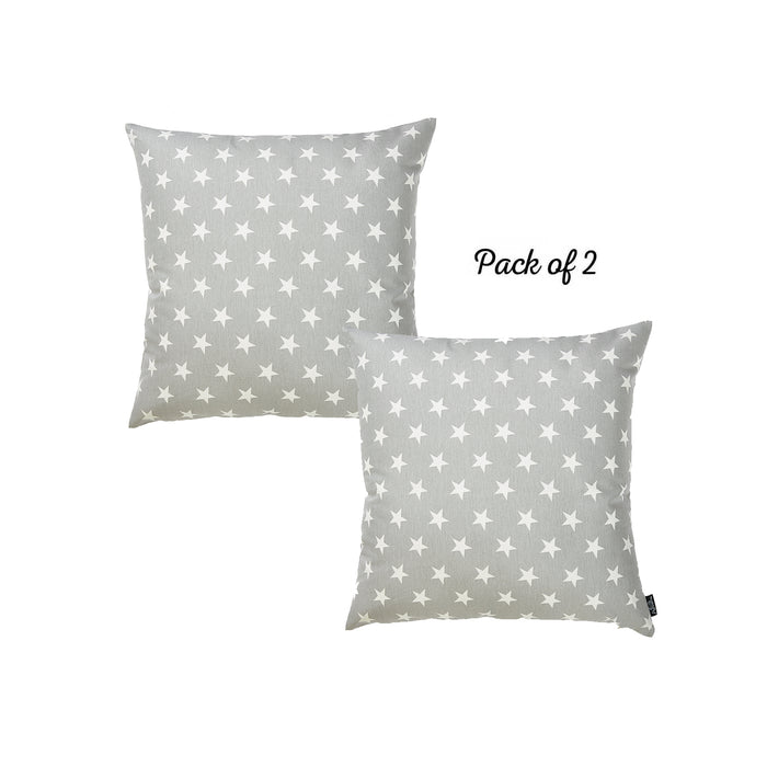 "Easy Care Gray White Stars Decorative Throw Pillow Cover Set Of 2 Pcs 20""x20"""