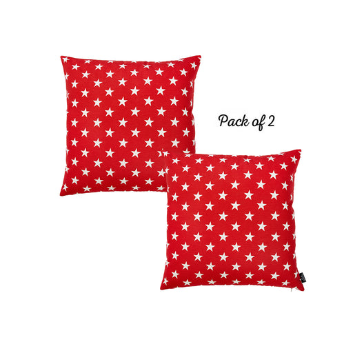 "Easy Care Red White Stars Decorative Throw Pillow Cover Set Of 2 Pcs 20""x20"""