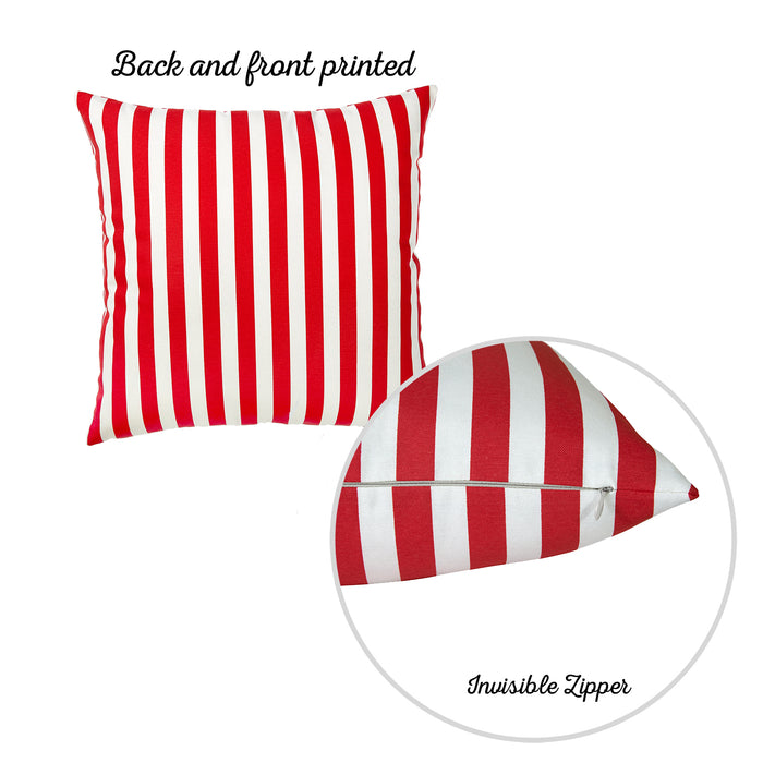 "Easy Care Red Stripes Decorative Throw Pillow Cover Set Of 2 Pcs 20""x20"""