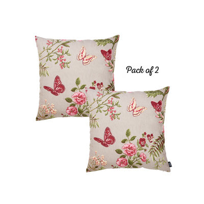 Easy Care Butterfly Floral Decorative Throw Pillow Cover Printed Home Decor 20''x20'' SET OF 2 PCS