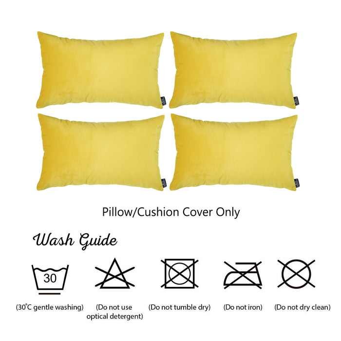 "Yellow Velvet Decorative Lumbar Throw Pillow Cover 14""x20""(4 pcs in set)"