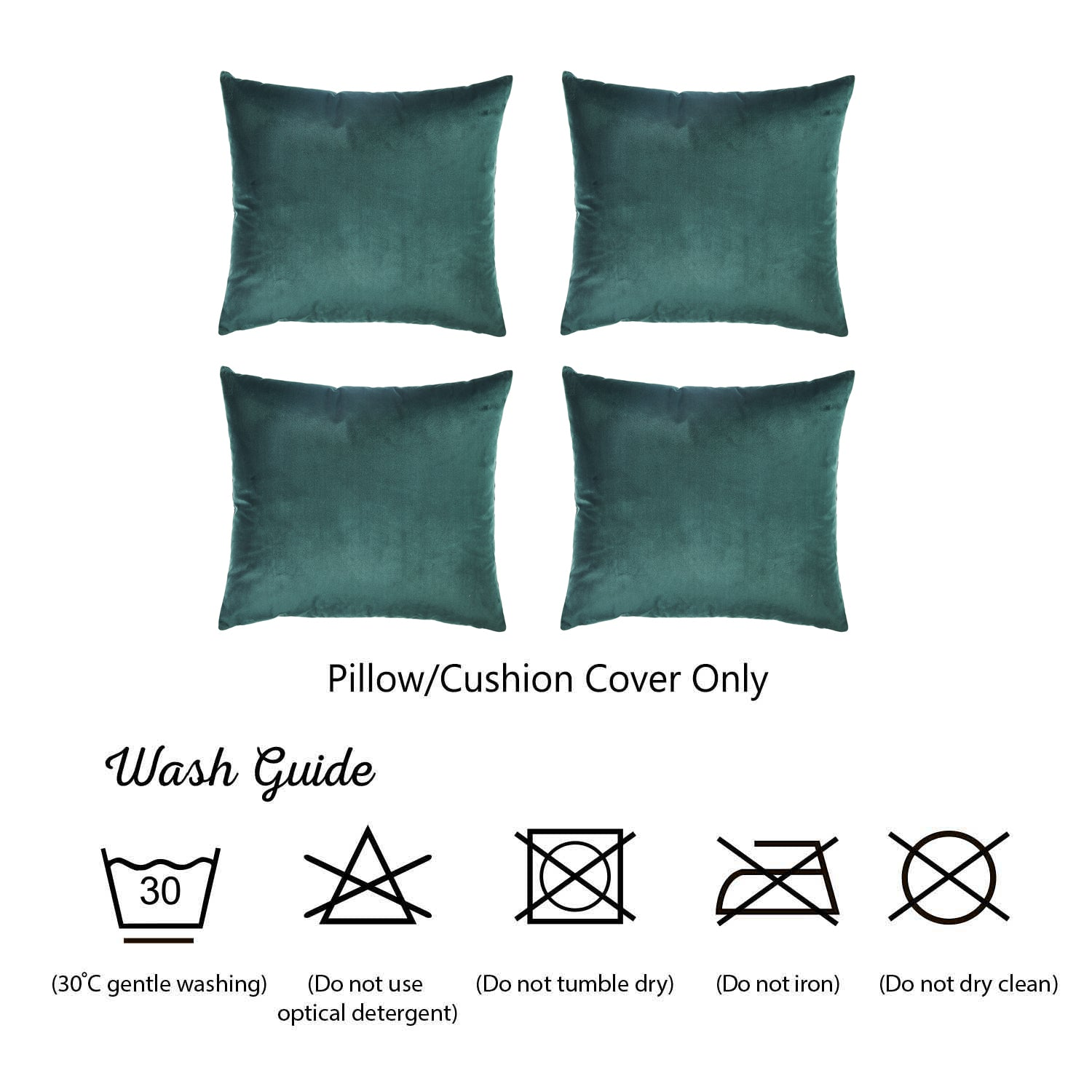 Velvet Dark Emerald Green Throw Pillow Cover Set 4 Pcs In Set