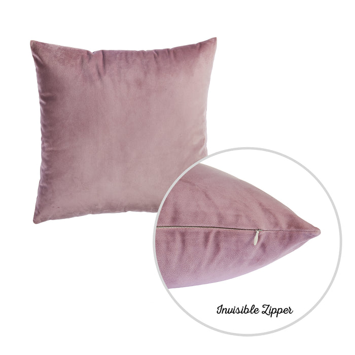 Velvet Blush Pink Decorative Throw Pillow Cover Set (4 Pcs in set)
