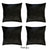 Velvet Black Decorative Square Throw Pillow Cover Set (4 Pcs in set)