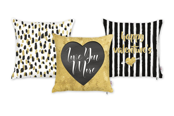 Valentine's Day Love You More Decorative Throw Pillow Cover (3 pcs in set)