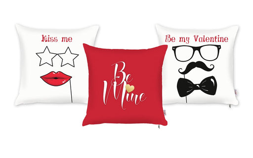 Valentine's Day Kiss Me Decorative Throw Pillow Cover (3 pcs in set)
