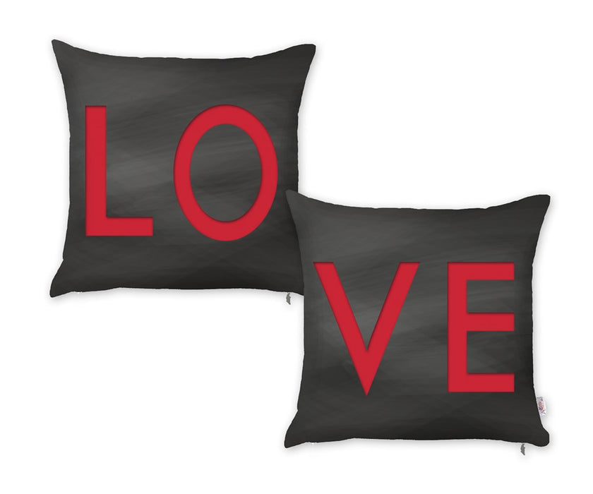 Valentine's Day Love Decorative Throw Pillow Cover (2 pcs in set)