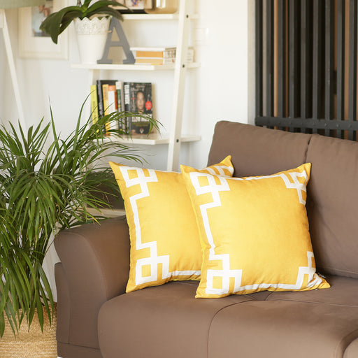 Geometric Yellow and White Decorative Throw Pillow Cover(2 pcs in set)