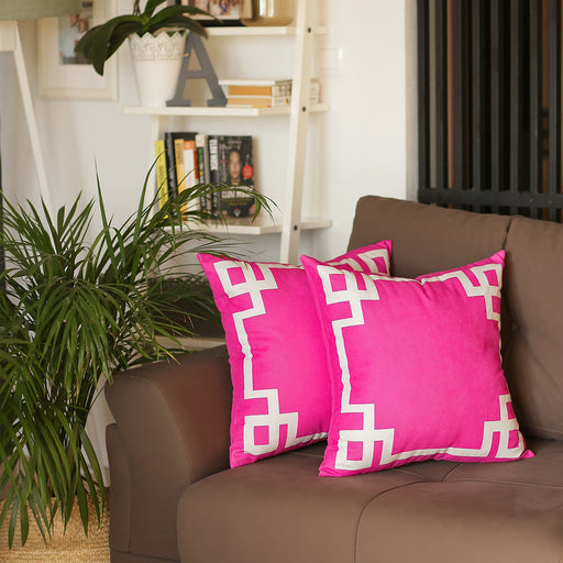 Geometric Pink and White Decorative Throw Pillow Cover (2 pcs in set)