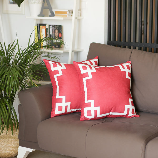 Geometric Red and White Decorative Throw Pillow Cover (2 pcs in set)