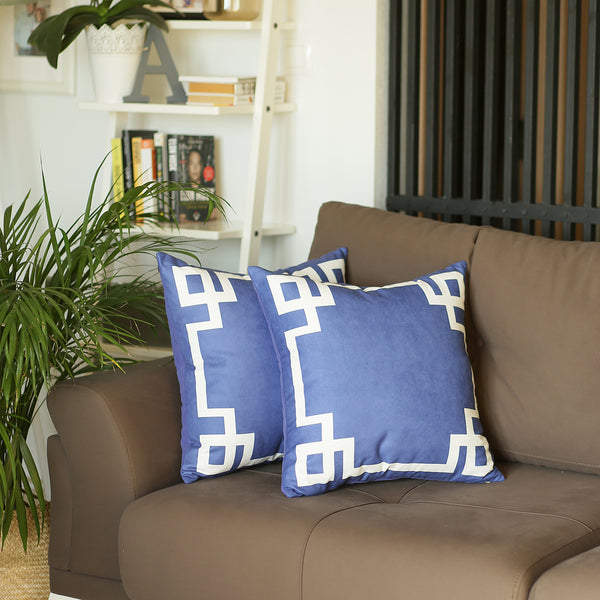 Geometric Blue and White Decorative Throw Pillow Cover (2 pcs in set)