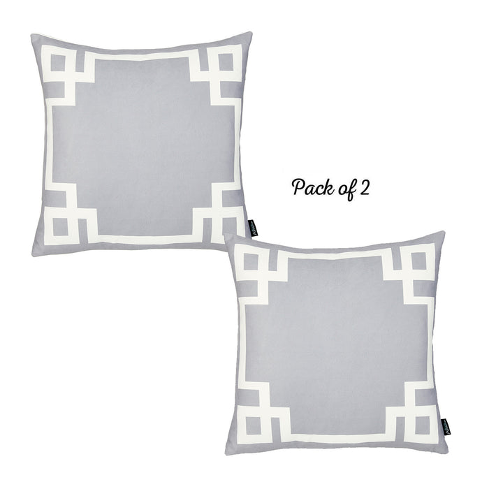 Geometric Gray and White Decorative Throw Pillow Cover (2 pcs in set)