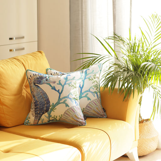 Marine Seahorse Decorative Throw Pillow Cover Printed (2 pcs in set)
