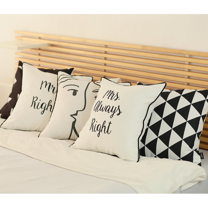 "Skandi Mrs.Right and  Mr.Right Decorative Printed Pillow Case Set of 2 pcs (18 ""x 18"")"