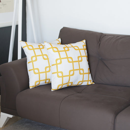 Geometric Yellow Squares Throw Pillow Cover Set 18''x18'' (2 pcs in set)