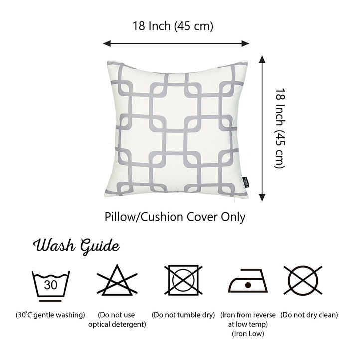 Geometric Gray Squares Throw Pillow Cover Set 18''x18'' (2 pcs in set)