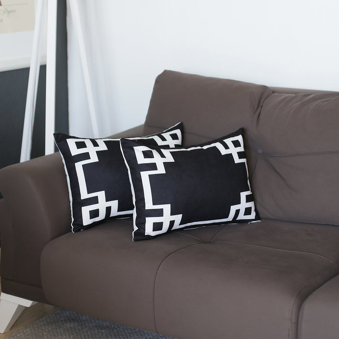 Geometric Black and White Decorative Throw Pillow Cover (2 pcs in set)
