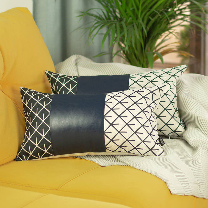"Decorative Navy Blue Vegan Faux Leather Pillowcase 12""x20"""