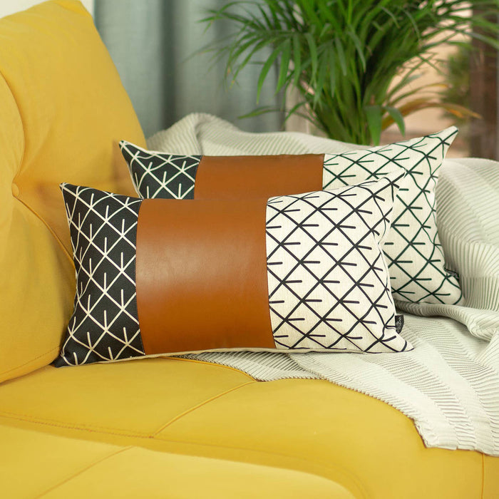 "Decorative Brown Vegan Faux Leather Pillowcase 12""x20"""