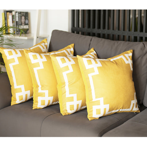Geometric Yellow and White Decorative Throw Pillow Cover(4 pcs in set)