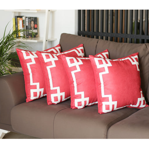 Geometric Red and White Decorative Throw Pillow Cover (4 pcs in set)