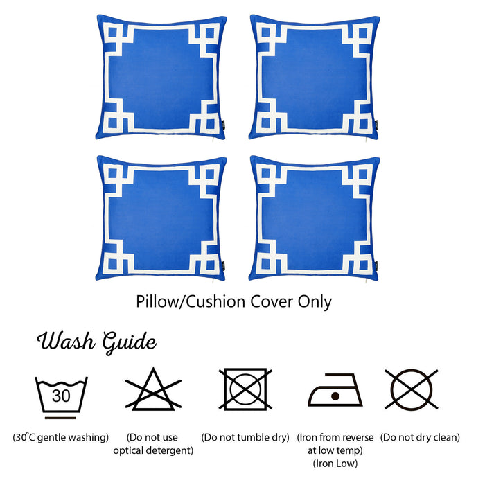 Geometric Blue and White Decorative Throw Pillow Cover (4 pcs in set)