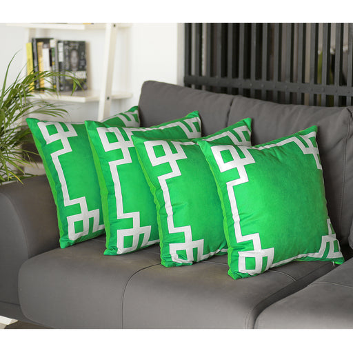 Geometric Green and White Decorative Throw Pillow Cover (4 pcs in set)