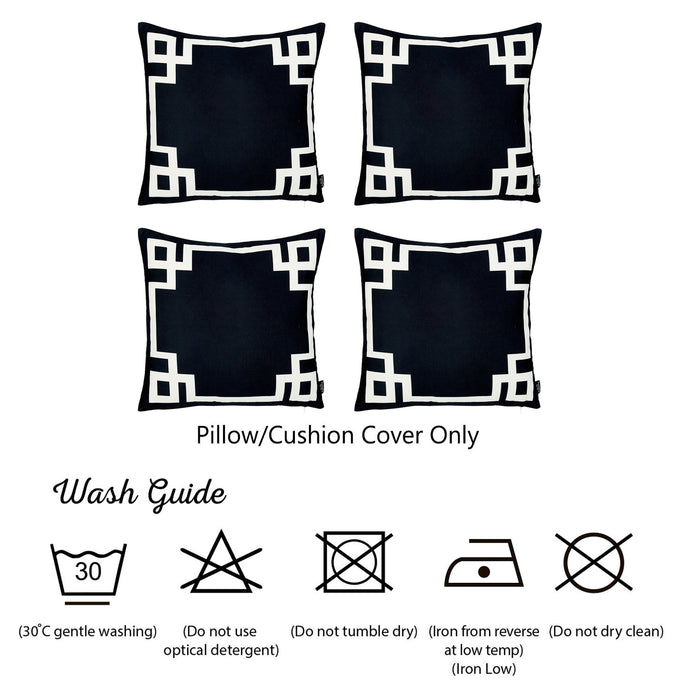Geometric Black and White Decorative Throw Pillow Cover (4 pcs in set)