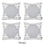 Geometric Gray and White Decorative Throw Pillow Cover (4 pcs in set)