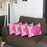 Geometric Pink and White Decorative Throw Pillow Cover (4 pcs in set)