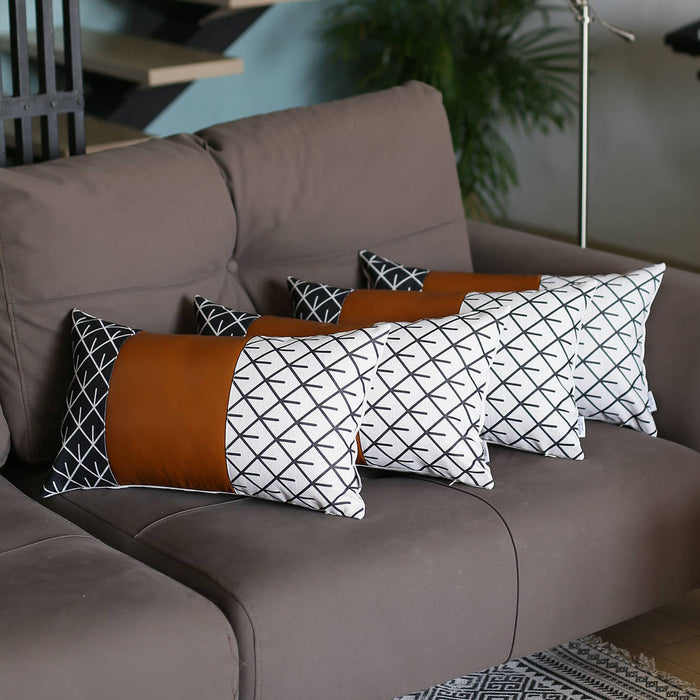"Decorative Brown Vegan Faux Leather Pillowcase 12""x20"" (4 pcs in set)"