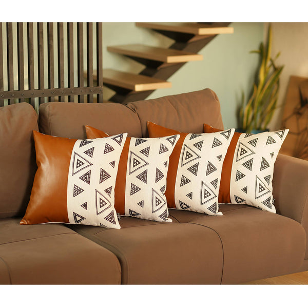 "Decorative Brown Vegan Faux Leather Pillowcase 17""x17"" (4 pcs in set)"