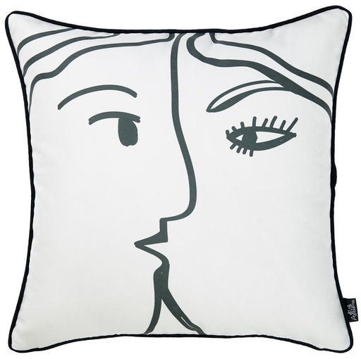 Skandi BW Passion Decorative Throw Pillow Cover Printed Home Decor 18''x18''