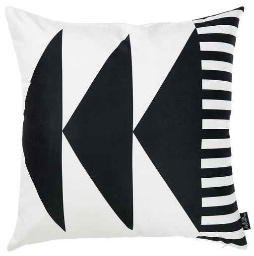 Skandi BW Triangles Decorative Throw Pillow Cover Printed Home Decor 18''x18''