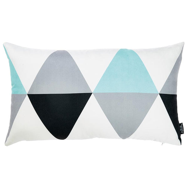 Skandi Blue Gray Modern Decorative Throw Pillow Cover Printed Home Decor 12''x 20''