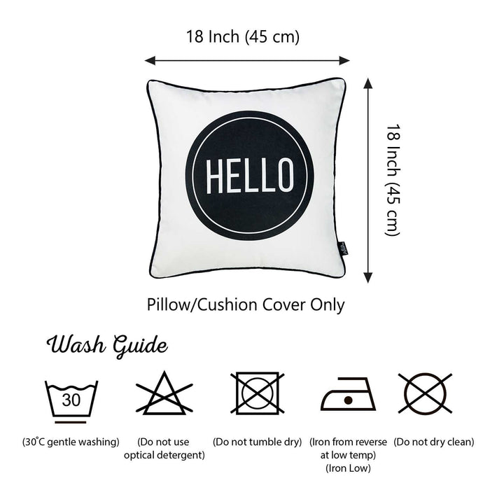 Skandi Hello Decorative Throw Pillow Cover Printed Home Decor 18''x18''