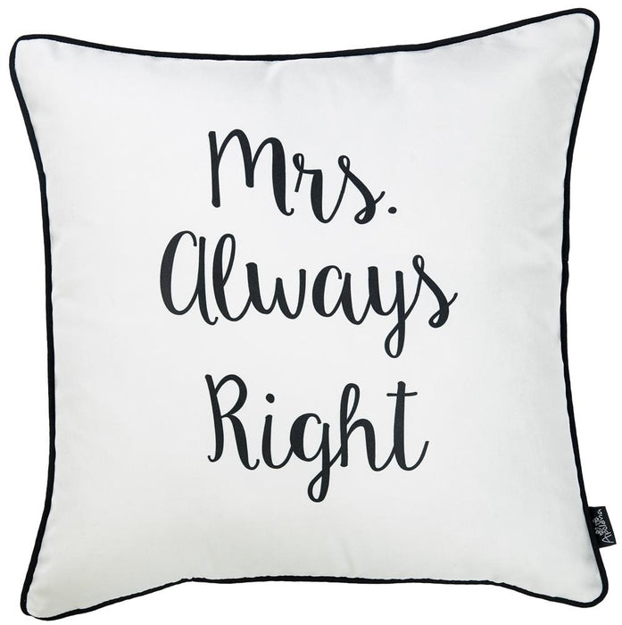 Skandi Mrs. Right Decorative Throw Pillow Cover Printed Home Decor 18''x18''