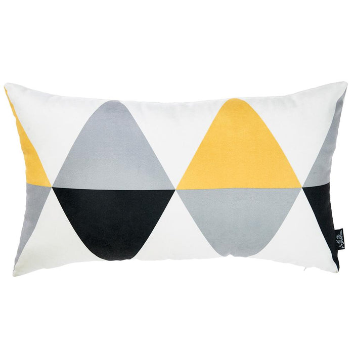 Scandi Yellow Gray Decorative Lumbar Throw Pillow Cover 12''x20''