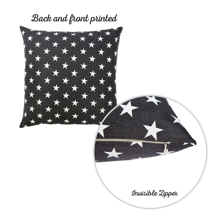 "Easy Care Black White Stars Decorative Throw Pillow Cover Home Decor 20""x20"""