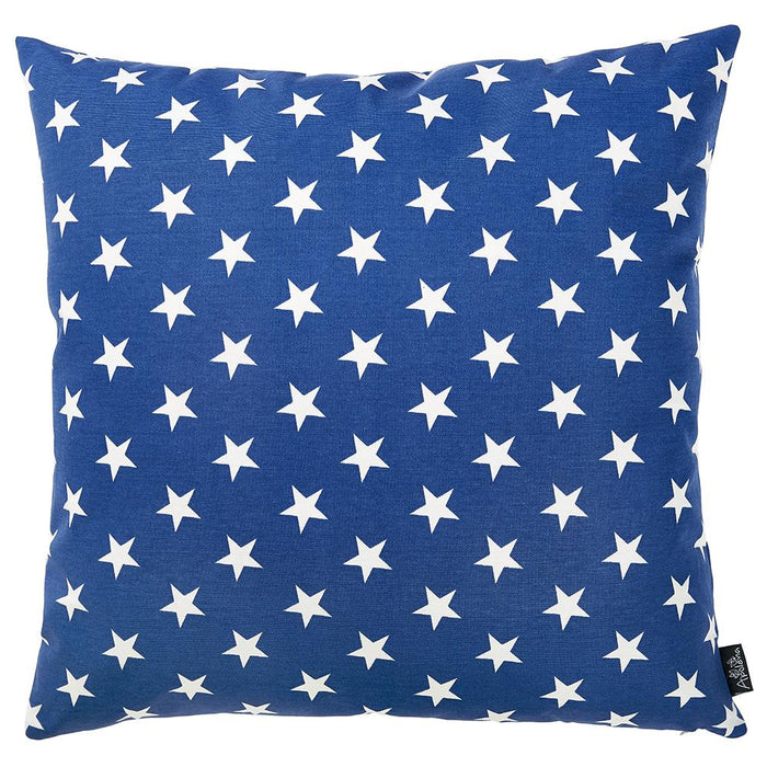 "Easy Care Blue White Stars Decorative Throw Pillow Cover Home Decor 20""x20"""