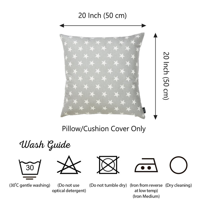 "Easy Care Gray White Stars Decorative Throw Pillow Cover Home Decor 20""x20"""
