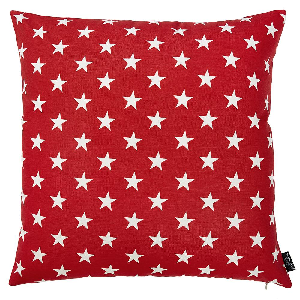 Easy Care Red White Stars Decorative Throw Pillow Cover Home Decor