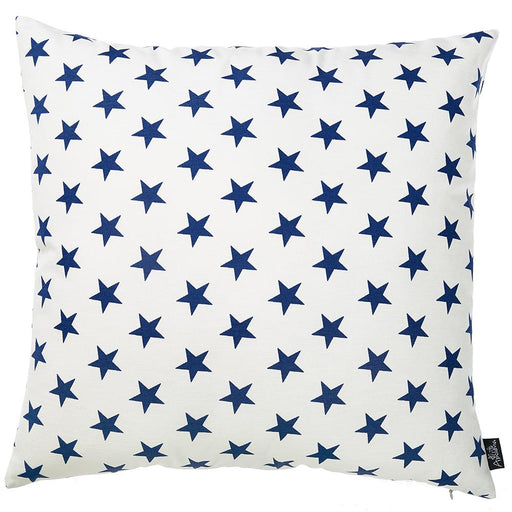 "Easy Care  White Blue Stars Decorative Throw Pillow Cover Home Decor 20""x20"""