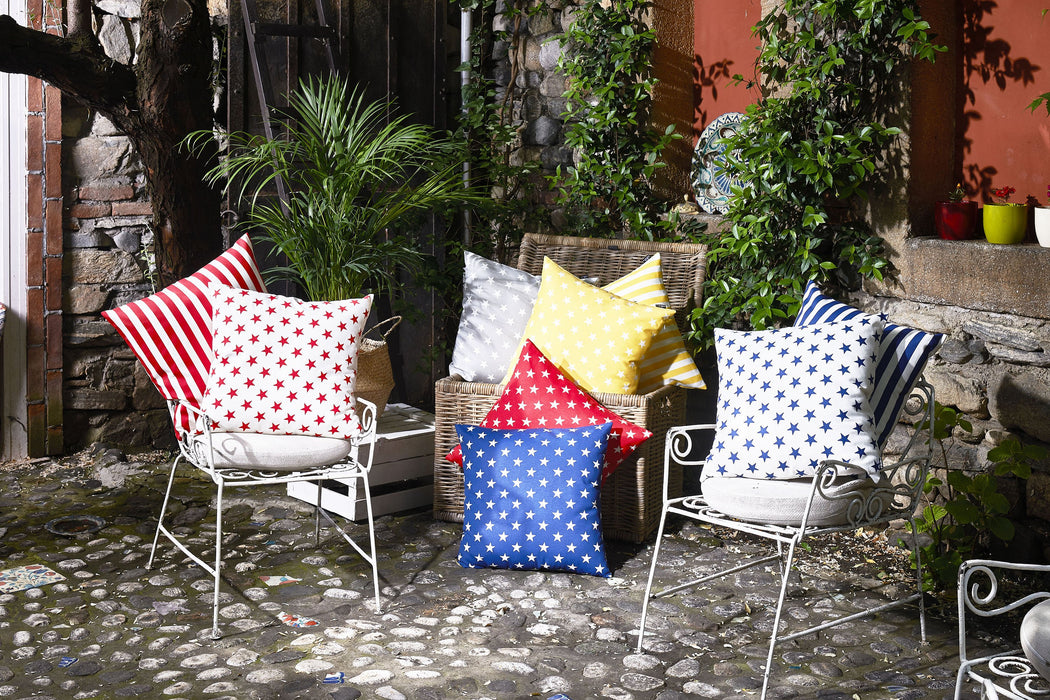 Easy Care  White Blue Stars Decorative Throw Pillow Cover Home Decor